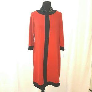 Shelby & Palmer Red & Black Career Swing Dress